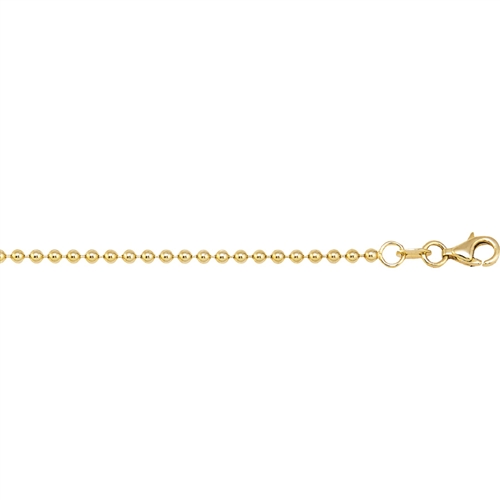 14K YG 1.5MM POLISHED MILITARY BALL CHAIN