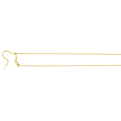 14K YG 1.05MM ADJUSTABLE DC ROPE CHAIN 30""