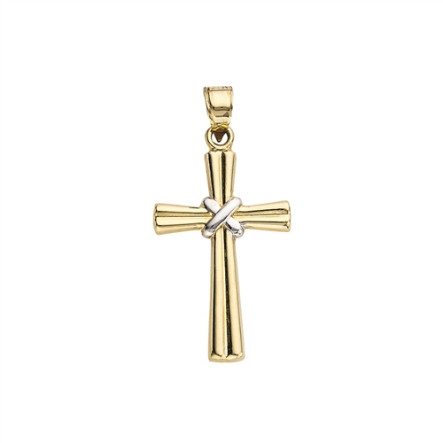 14K Two-Tone Ribbed X Cross