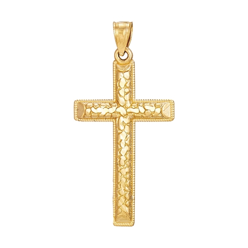 14K YG NUGGET CROSS