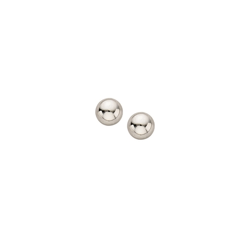 14K WG 5mm Polished Ball Studs