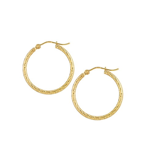 14K YG 2X25 DIAMOND CUT TEXTURED HOOP