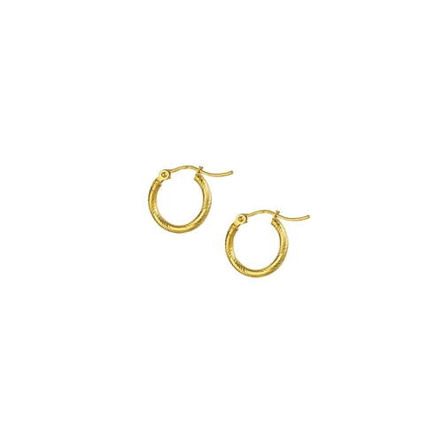 14K YG 2X15 DIAMOND CUT SPIRALED HOOP