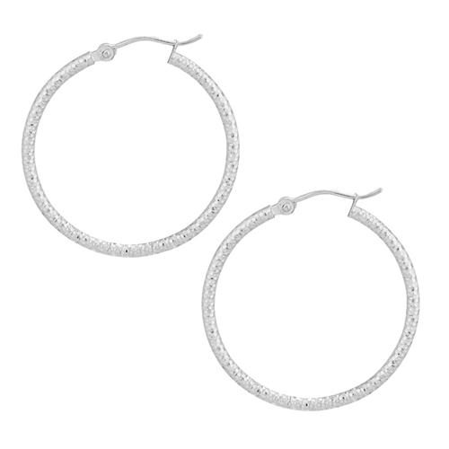 14K WG 2X30 DIAMOND CUT TEXTURED HOOP