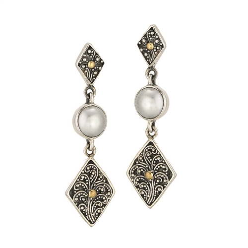 SS 18 KARAT BALI  DESIGN DANGLE-POST EARRINGS WITH FRESH WATER WHITE PEARL