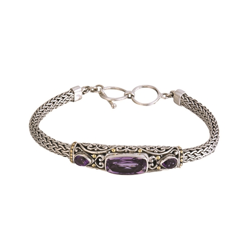 "SS 18 KARAT BALI DESIGN BRACELET WITH 7X14mm (CENTER) AND (2) 4X6mm AMETHYST - ADJ TO 8"" WITH TOGGLE LOCK"