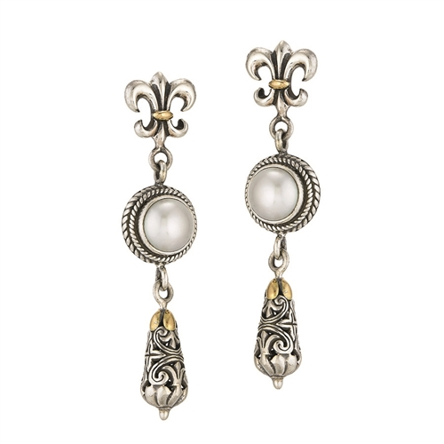 18 KT - SS  BALI FLEUR DE LIS DESIGN DANGLE-POST EARRINGS WITH FRESH WATER WHITE PEARL