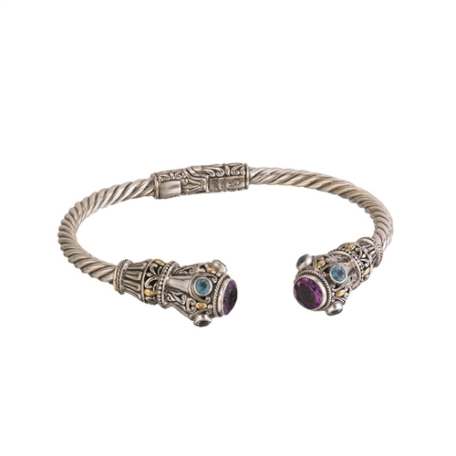 18 KT - SS  BALI DESIGN CUFF BANGLE WITH AMETHYST/BLUE TOPAZ HINGED