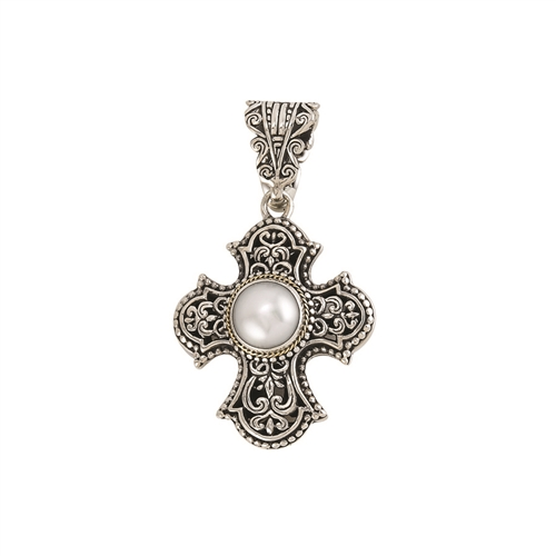 18 KT - SS BALI DESIGN CROSS PENDANT  WITH FRESH WATER PEARL