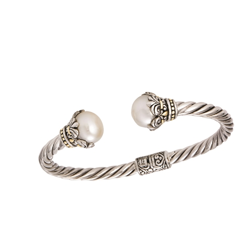 18 KT - SS  BALI BANGLE WITH WHITE PEARL