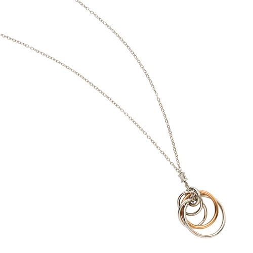 SS Rhd/Pink Multi Circle Designer Necklace