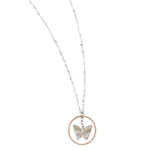 "SS Rhodium/Rose Butterfly in Circle Necklace 18""+2"""