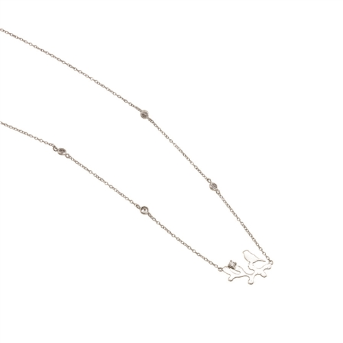 "SSRHD BIRD/BRANCH SILO W/ CZ NECKLACE 16""+2"""