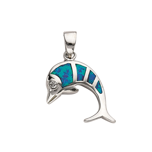 SSRHD SYNTHETIC OPAL INLAY DOLPHINE CHARM