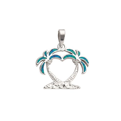 SSRHD SYNTHETIC OPAL INLAY DBL PALM TREE CHARM