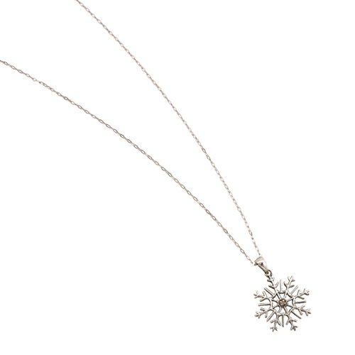 "SSRHD SNOWFLAKE WITH CZ WITH 18"" CHAIN"