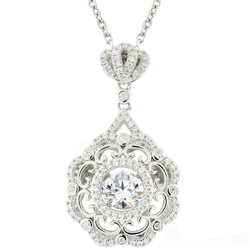 SSRHD GEMS IN MOTION SWAROVSKI RND ANTIQUE DESIGN PENDANT WITH CHAIN