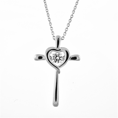 SSRHD GEMS IN MOTION SWAROVSKI HEART/CROSS PENDANT WITH CHAIN