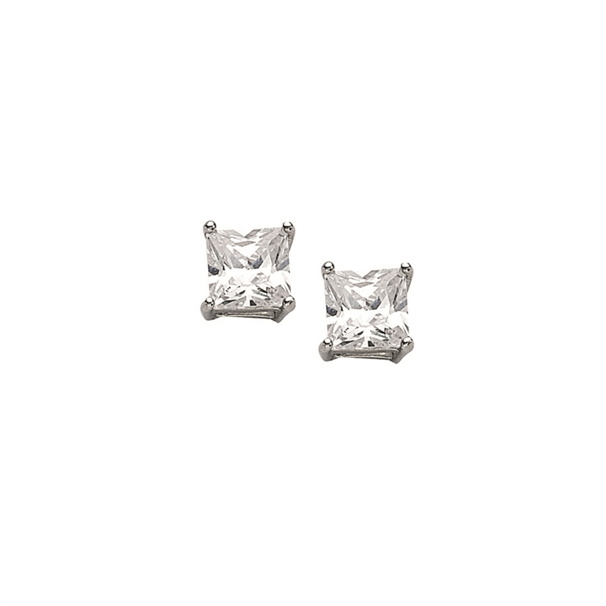 SS RHD 5mm PRINCESS BASKET SET CZ STUDS